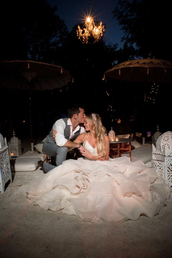 Bride and Groom enjoying the evening at El Cortijo De Los Caballos in Estepona, Spain